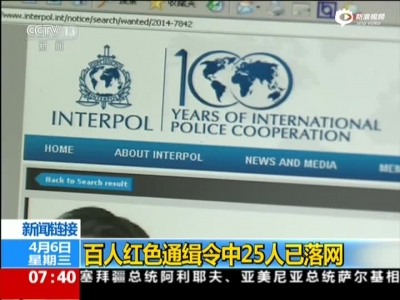 《朝闻天下》新闻链接:百人红色通缉令中25人已落网