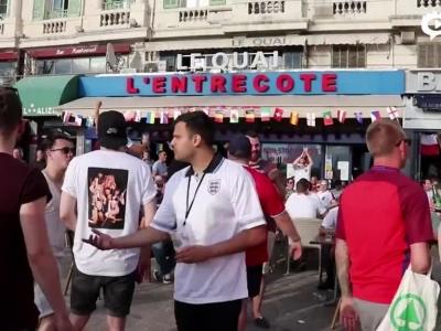 英球迷对峙法国警察