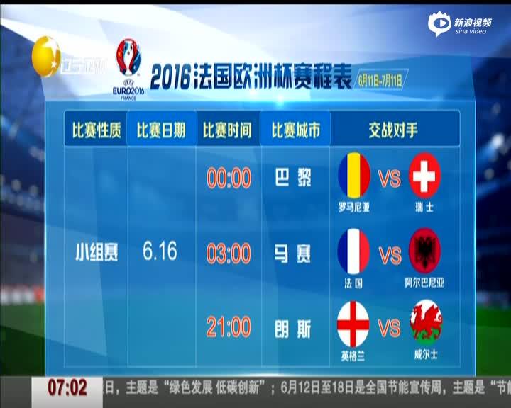 《第一时间》2016法国欧洲杯赛程表