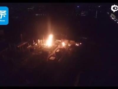 航拍直击西安南郊变电站闪爆