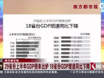 29省份上半年gdp榜单出炉