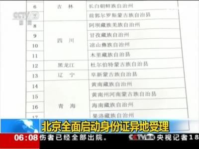 北京全部启出发份证异地驳回