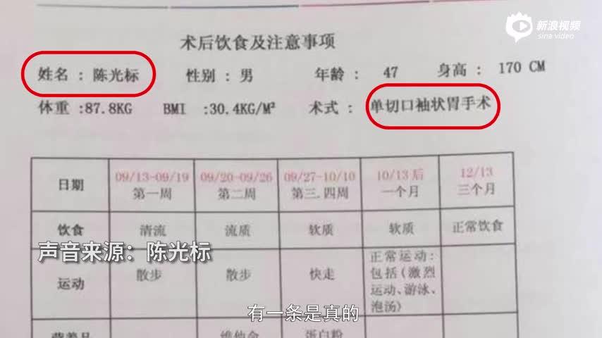 陈光标回应切胃减肥:身上没有一颗米粒大的疤痕