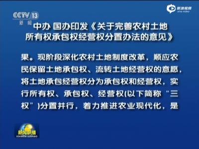 中办 国办印发《关于完善农村土地所有权承包权经营权分置办法的意见》