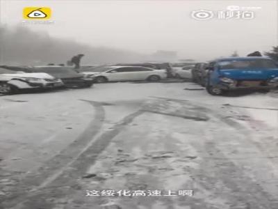 哈尔滨数十辆车雪地连环撞