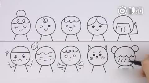 用圆圈画一大波呆萌可爱的表情,有孩子的和孩子一起学