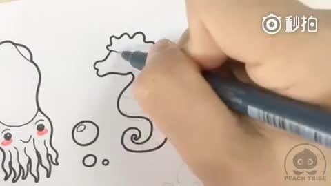 02:11简笔画几个海底小动物,留到哄小孩玩的时候用~~好萌啊