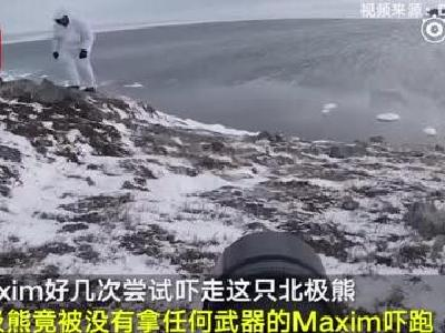 """视频:战斗民族摄影师徒手吓走北极熊 网友:改名""""北极怂"""""""