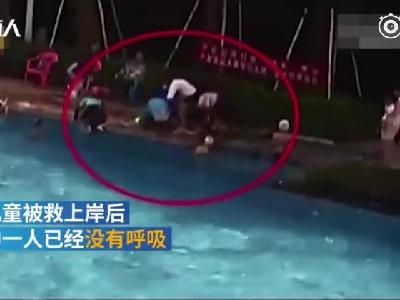 视频:两儿童泳池溺水 退休护士2分钟救回