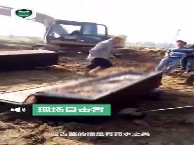 视频|广东潮州疑发现百年前古墓 已挖出两副保存完好棺木