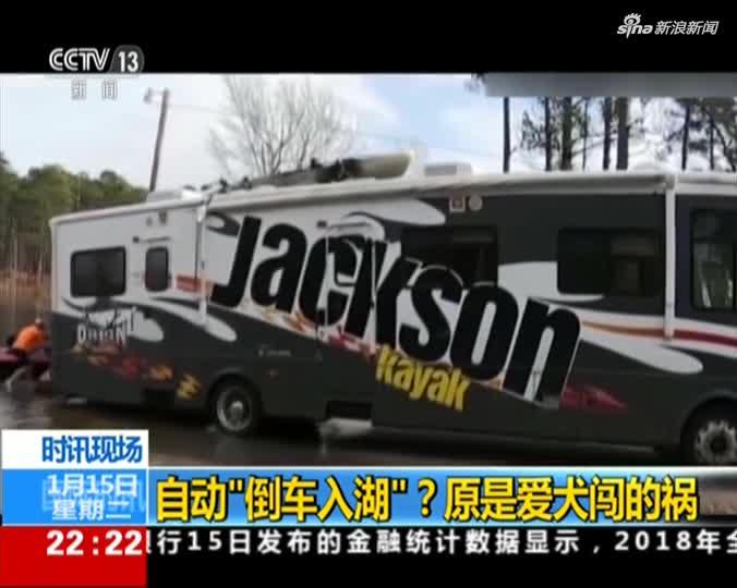 """视频:爱犬调皮误踩倒车键 露营车""""倒车入湖""""受损"""