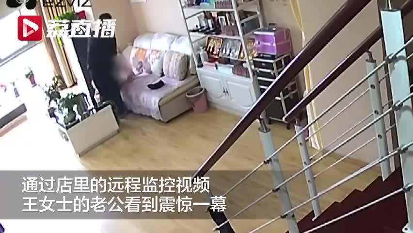 视频-监控看到妻子遭持刀绑架 丈夫远程喊话吓退劫