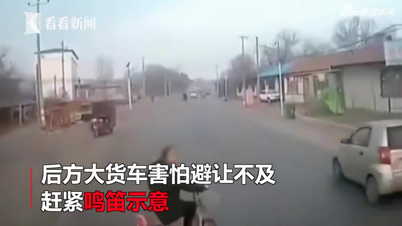 视频|女子横穿马路逼停大货车 下一秒遭对向车辆撞