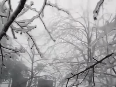 张家界天门山现雾凇奇观
