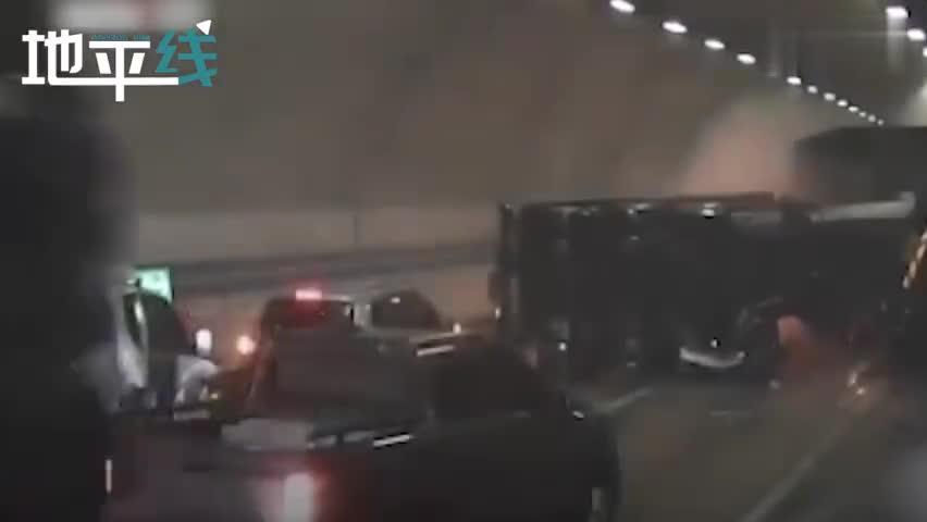 视频|韩国一隧道内发生30车连撞 危险化学品泄漏