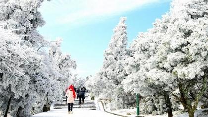 南岳衡山:下雪天 周末游客翻番
