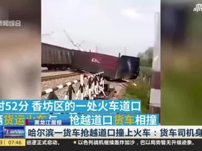 视频|哈尔滨一货车抢越道口撞上火车 货车司机当场身亡
