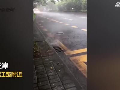 视频:城会玩!台风过境天津降暴雨 市民划船出行跳水游泳