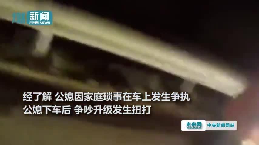 视频|公公儿媳高速应急车道互殴 儿子当场崩溃:我