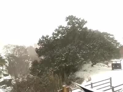 昆明轿子山景区迎来春雪