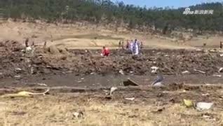 视频-埃航坠毁现场视频曝光:地面被砸出大坑 残片