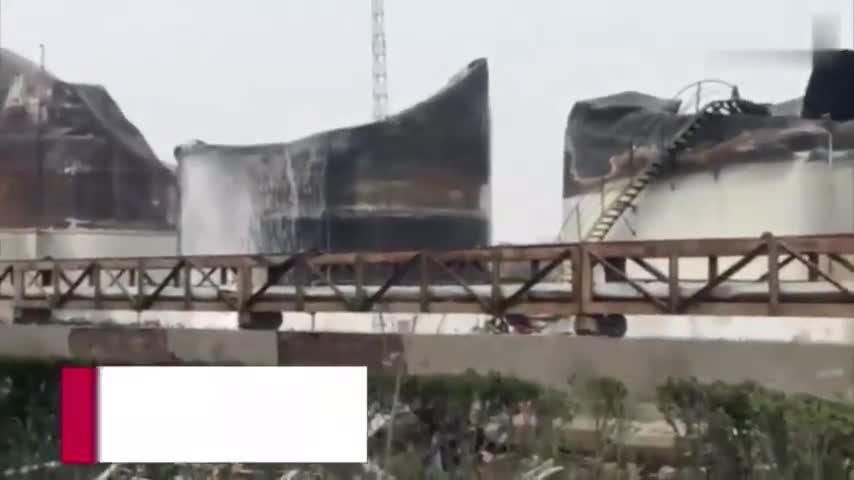 视频-响水化工企业爆炸核心区直击:三个储料罐完全