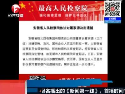 安徽省皖北煤电集团有限责任公司原董事长葛家德被逮捕