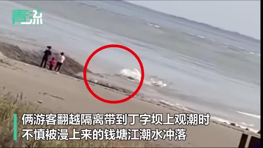 视频:俩游客违规翻越钱塘江隔离带观潮 被大潮吞没