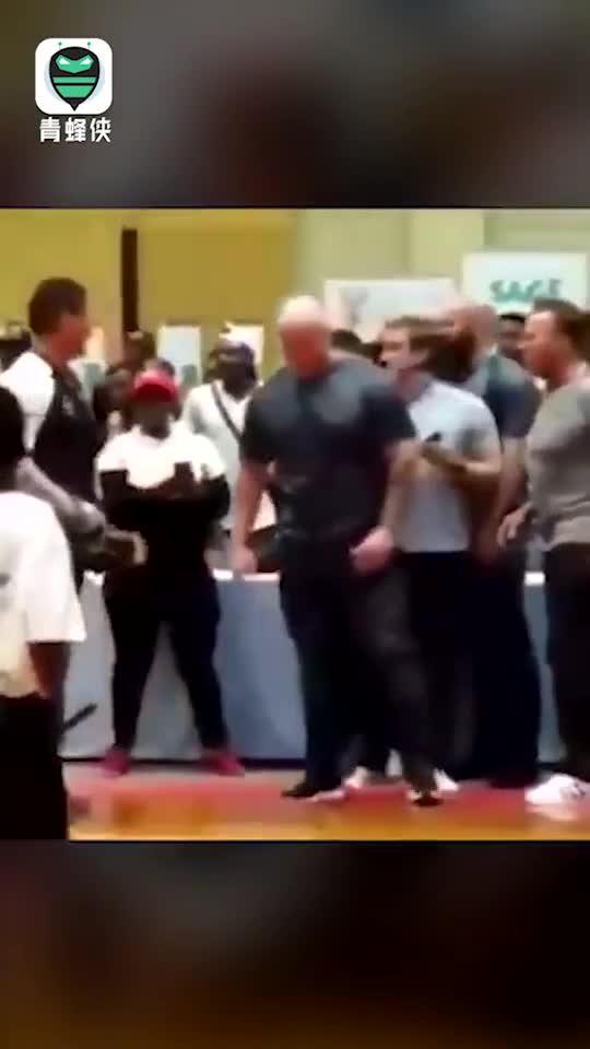 视频-施瓦辛格遭陌生男子飞踹偷袭 咣当!袭击者被