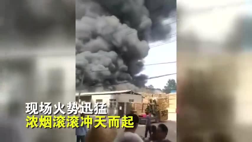 视频-狂烧6小时!河南一家具厂起火 加工好的板材
