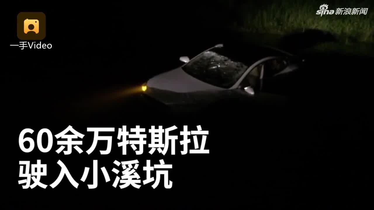 视频:开车抛烟蒂被风吹回 60多万特斯拉坠河报废