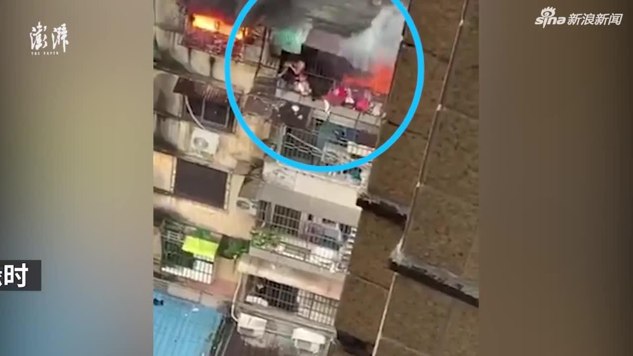 视频:广州母亲火场护女身亡 逃生画面曝光
