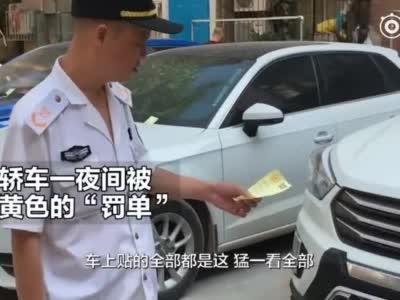 """郑州小区轿车贴被满""""罚单""""远看吓人 再看落款印章笑了"""