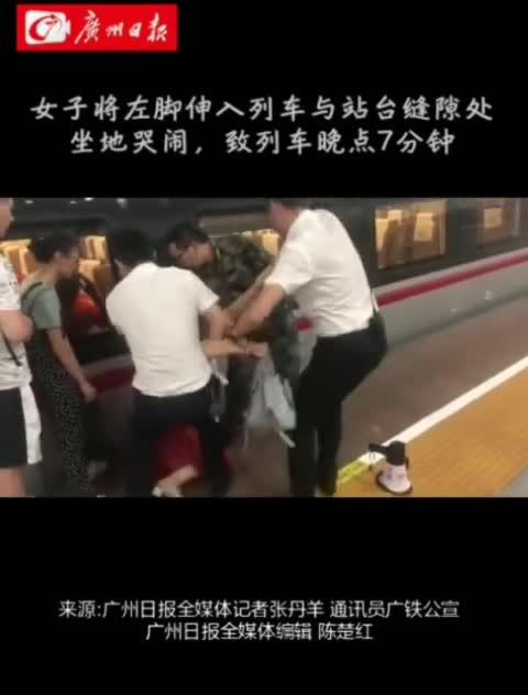 视频:高铁停检后女子强闯闸口 脚伸向站台和列车缝
