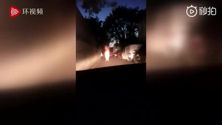 """视频-英国警察半夜开车追""""恐龙"""" 全程大笑不止"""