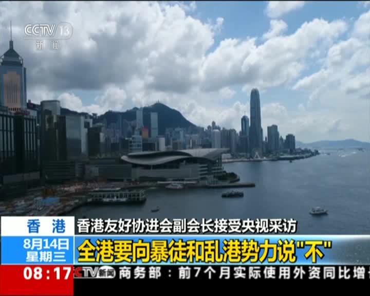 """视频-香港友好协进会副会长:全港要向暴徒说""""不"""""""