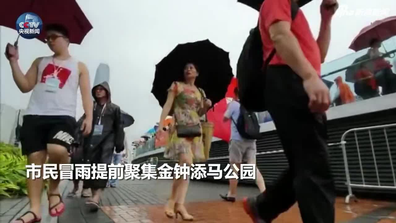 """冒雨守护!香港社会各界举行""""反暴力、救香港""""大集会"""