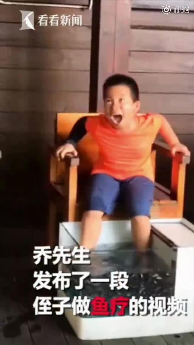 视频|7岁男孩做鱼疗痒出鹅式笑声 周围游客全被带