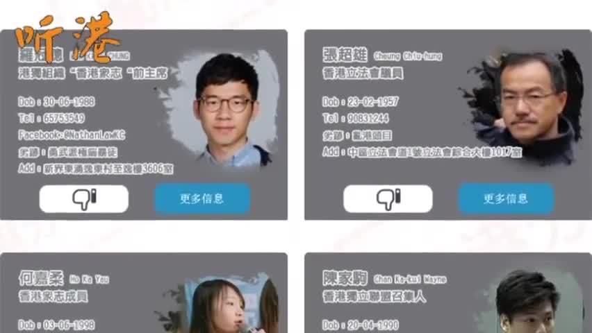 视频-网友自制网站 曝光被摘下面罩的香港暴徒名单