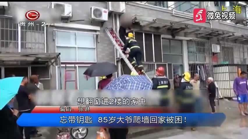 视频-忘带钥匙 85岁大爷爬墙回家被困
